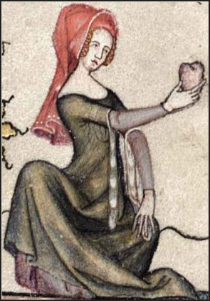 Here the lady has placed a hood over her plaits (Romance of Alexander, 1338-44, fol 59r)